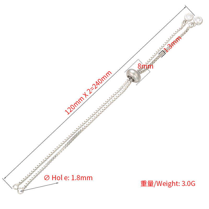 ZHUKOU 1.3x240mm 브래스 경감 님이 라인 석 쥬얼리에 대한 간단한 조절 팔찌 체인 diy 팔찌 체인 액세서리 만들기 모델: VL20