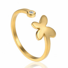 Finger Rings Woman Accesories Stainless Steel Jewelry Fashion Gold Butterfly Crystal Engagement Wedding Open Adjustable Ring
