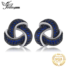 JewelryPalace 0.5ct Created Blue Spinel Flower Wraparound Cluster Studs Earrings 925 Sterling Silver Jewelry for Women jewelrypalace luxury pear cut 7 4ct created emerald solid 925 sterling silver pendant necklace 45cm chain for women 2018 hot