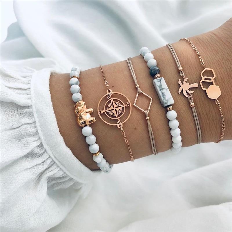 2021 в богемном стиле обаятельные Браслеты и ожерелья, Набор браслетов винтажная бусина в стиле бохо, браслеты с брелоками для женщин, ювелирн...