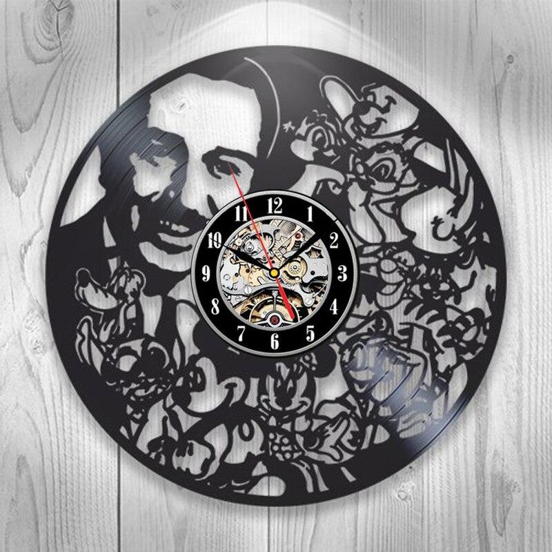 Vinyl Record Wall Clock Modern Design Vintage Cartoon 3D Stickers Kids Clocks Wall Watch Children's Room Home Decor Silent