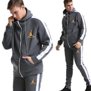 Image 2 - 2019 yeni marka eşofman moda JORDAN 23 erkekler spor iki parçalı setleri tüm pamuk fermuar spor hoodie + pantolon spor takım elbise Mal