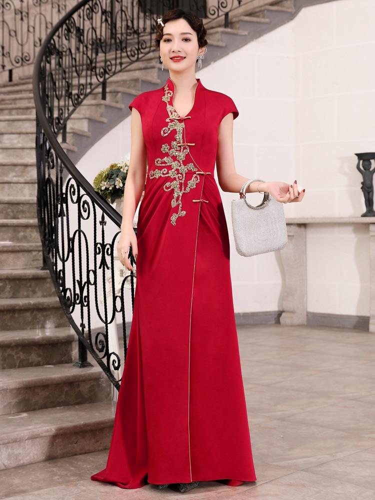 Improved Cheongsam Dress Chinese Style Red High-end Cheongsam Long Elegant Banquet Stage Host Short-sleeved Evening Dress Women