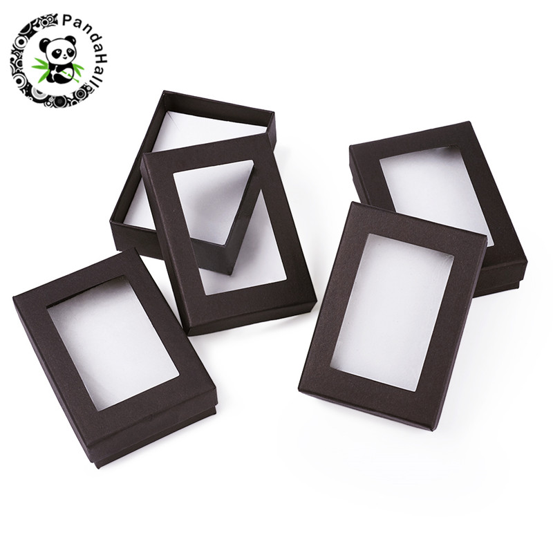 60pcs Jewelry Set <font><b>Boxes</b></font> Rectangle White Black Gift <font><b>Boxes</b></font> for Necklaces Earrings and <font><b>Rings</b></font> Packaging <font><b>Cardboard</b></font> 90x65x28mm image