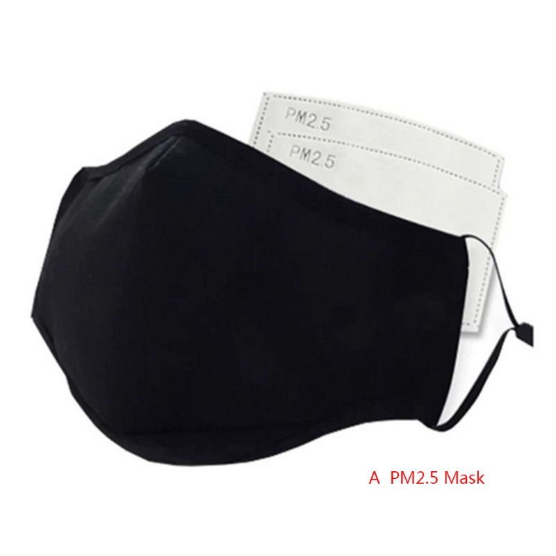 Pollution Face Masks PM2.5 Mouth Mask Breathable Washable Cotton Dust-proof Mouth Masks With 2 Replaceable Filters