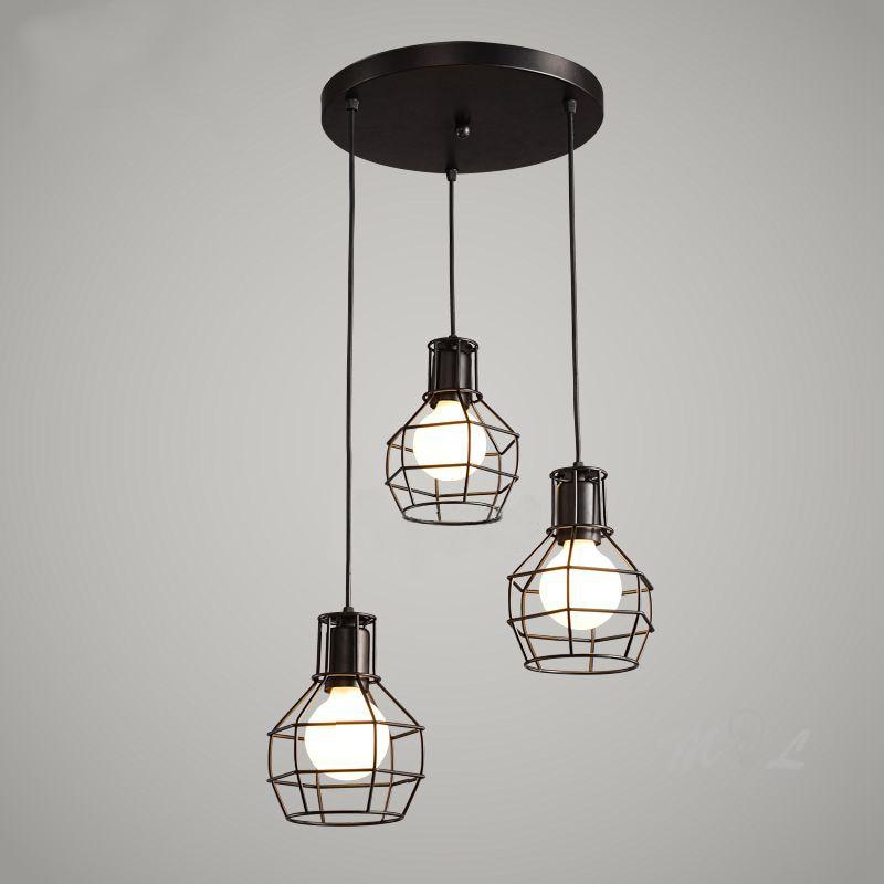 Loft Vintage Hanging Lamps Iron Cage Pendant Lights Retro Home Deco Suspension Luminaires Kitchen Light Fixtures Bar E27 Lights