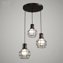 Desván lámparas colgantes Vintage jaula de hierro luces colgantes Retro hogar Deco luminarias en suspensión cocina accesorios de iluminación Bar E27 luces