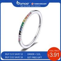 Bamoer arc-en-ciel couleur CZ bagues pour femmes empilable Match Joker déclaration de mariage en argent Sterling 925 bijoux SCR583