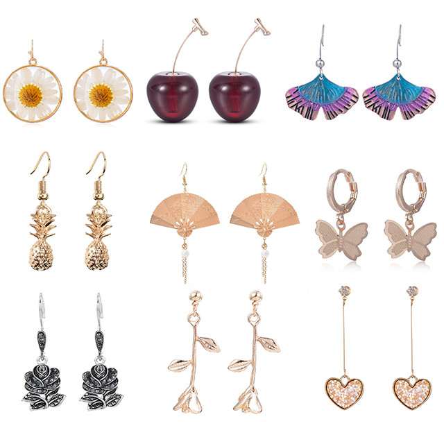 2020 New Fashion Women Drop Dangle Earrings Jewelry Fruit Rose Pendant Korean Earrings Statement Earrings Wholesale