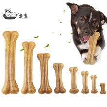 Cão mastiga brinquedos natural do couro pressionando osso durável couro do osso molar dentes vara limpa trata alimentos cães ossos