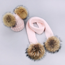 Pom Pom Hat Scarf Women Kids Winter Cotton Beanies Hats Real Fur Pompon Hat Cap Girl Warm Knitted Solid Pink White Hats Scarves