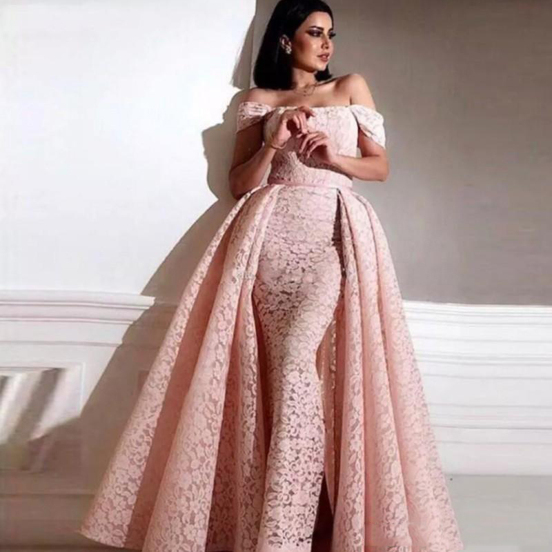 Eightree Arabic Mermaid Prom Dresses Detachable Train Off-shoulder Formal Party Gown Full Lace Evening Dress Robe De Soiree