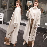 Upset South Korea imitated mink sweater female loose minks hair long knitting cardigan coat robe in the wind