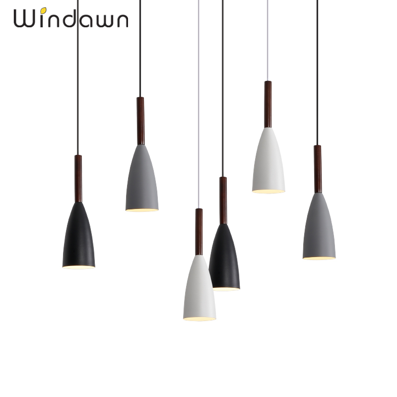 Windawn Nordic Pendant Lights Wooden Ceiling Lamp Iron Hanging Lamp Creative Hotel Bedroom Living Room Office For Ceiling Lamp