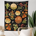 Botanical Cactus Tapestry Wall Hanging Moon Starry Mushroom Chart Hippie Bohemian Tapestries Psychedelic Witchcraft Home Decor