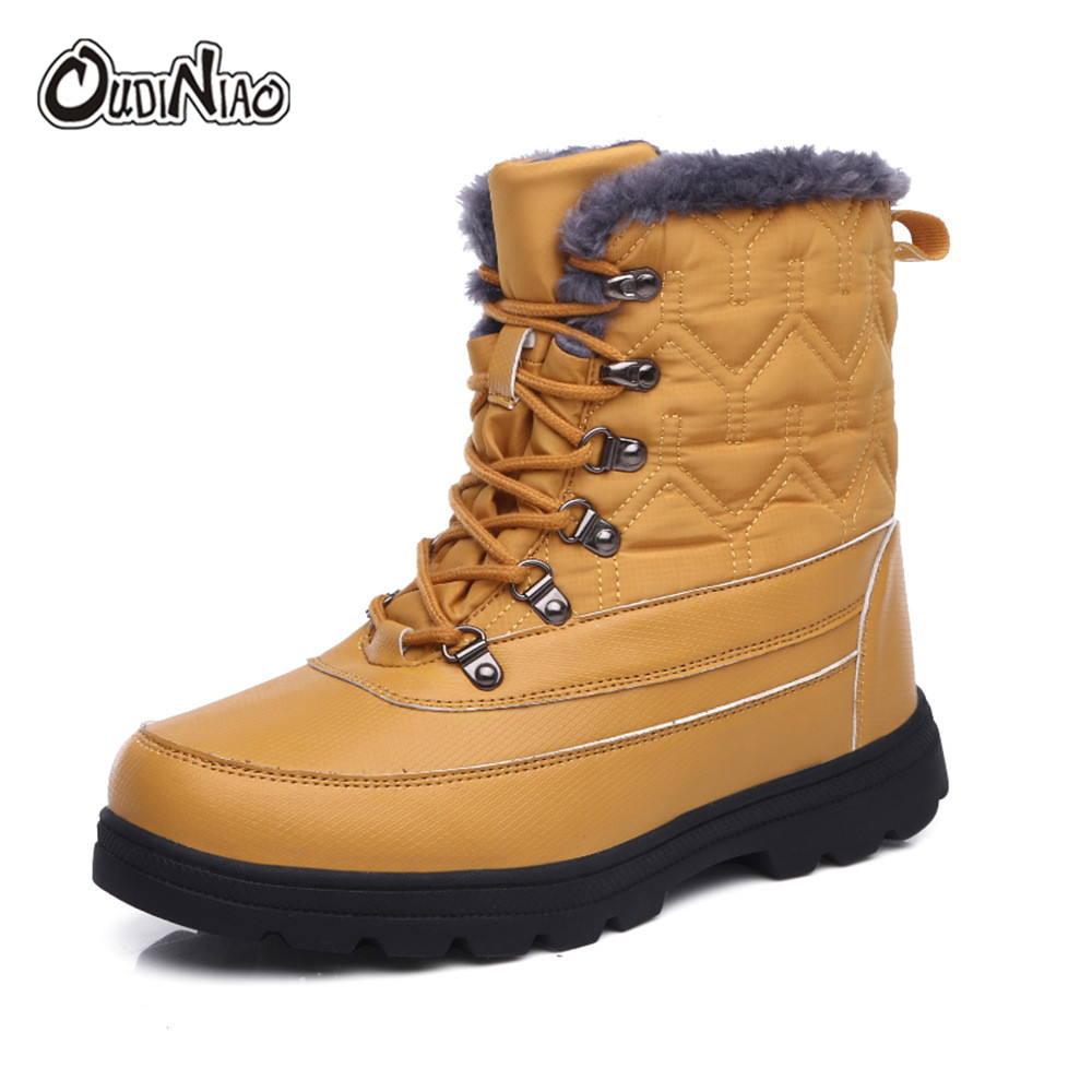 OUDINIAO 2019 New Winter Waterproof Snow Men Boots Shoes With Fur Plush Warm Male Casual Women Mid Calf Boot Sneakers Unisex