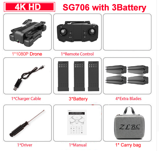SG706 4K Drone Dual Camera Drone Profissional Quadcopter Stable Height RC Helicopter Drone Camera VS F11 XS816 GD89