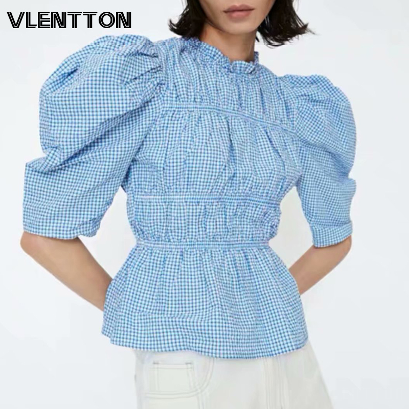 2020 Spring Summer Sexy Blue Plaid Short Women's Shirt Puff Sleeve Ruffled Tops And Blouses Ladies Blusas Mujer De Moda Camisas