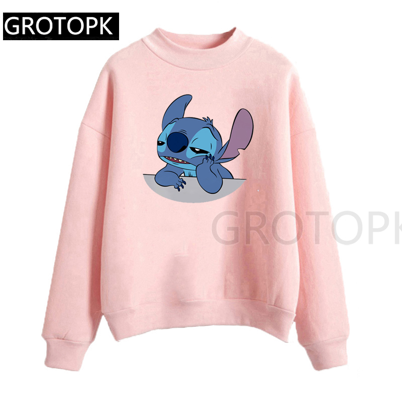 Women'S Fashion Hoodie Lilo Stitch Harajuku Kawaii Sweatshirts Lovely Cartoon Female Printed Casual Hoodies Cute Casual Tops