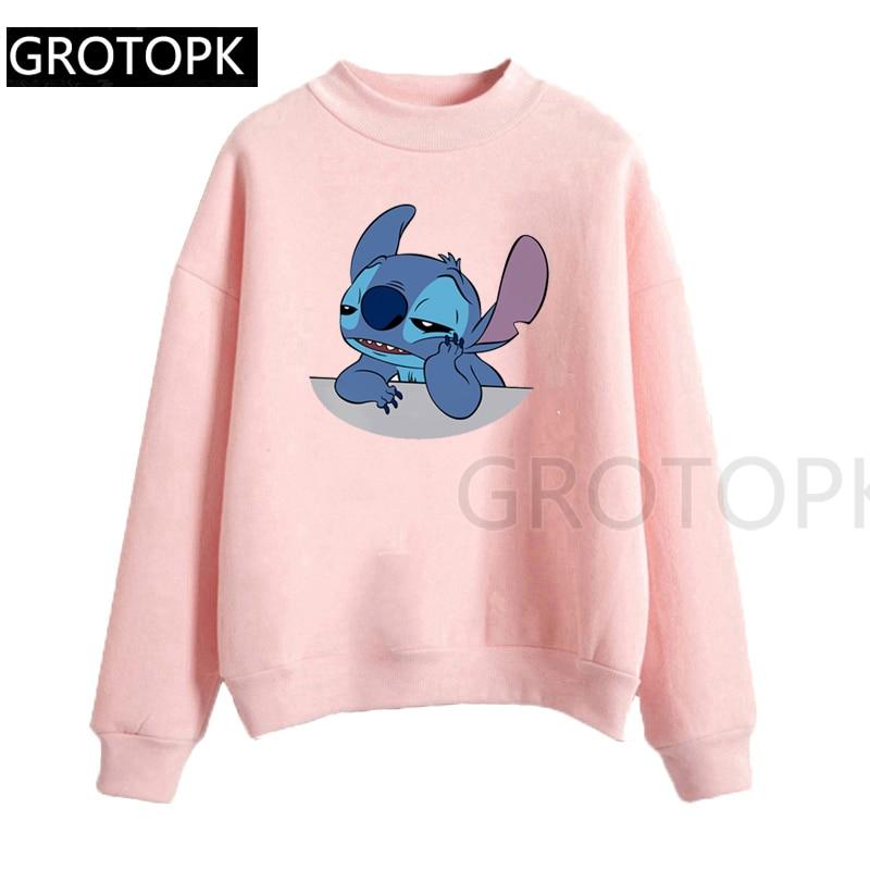 Women'S Fashion Hoodie Lilo Stitch Harajuku Kawaii Sweatshirts Lovely Cartoon Female Printed Casual Hoodies Cute Casual Tops