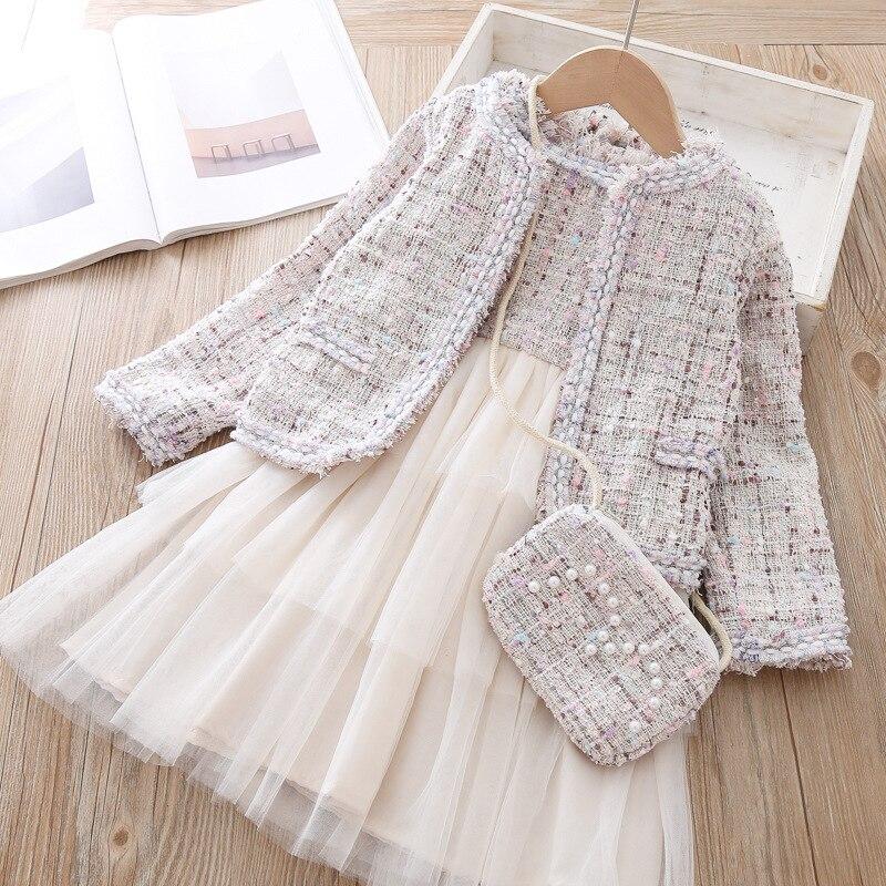 New girls Spring autumn Princess suits Girls Clothing Set Kids Dress+ Jacket+Bag 3 Piece Suit