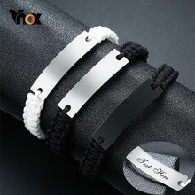 Vnox – Bracelets unisexe pour hommes, avec nom personnalisé, Date, citation initiale, longueur de gravure, cordon réglable, bijoux