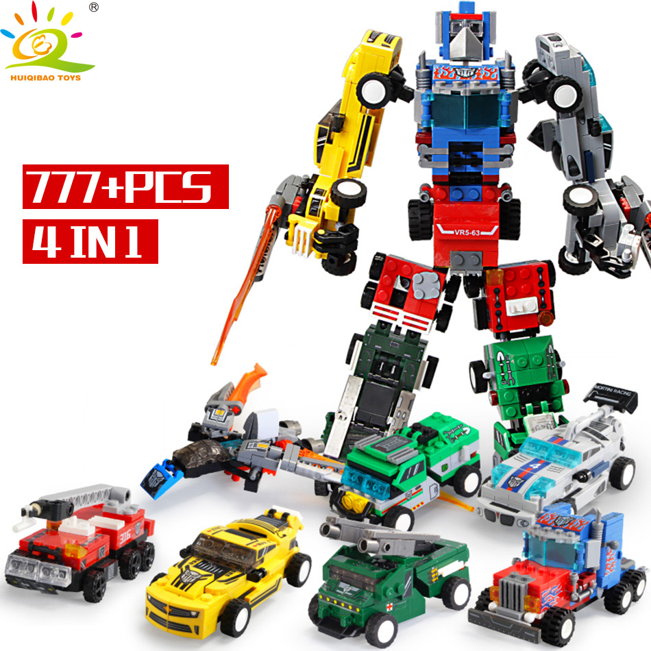 777PCS Transformation Autobots 4in1 Models Building Blocks Set Legoing City Truck Car Robot Bricks Educational Toy For Children