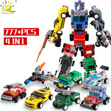 777PCS transformation Autobots 4in1 Models Building Blocks Set legoing City truck car Robot Bricks Educational Toy for Children(China)