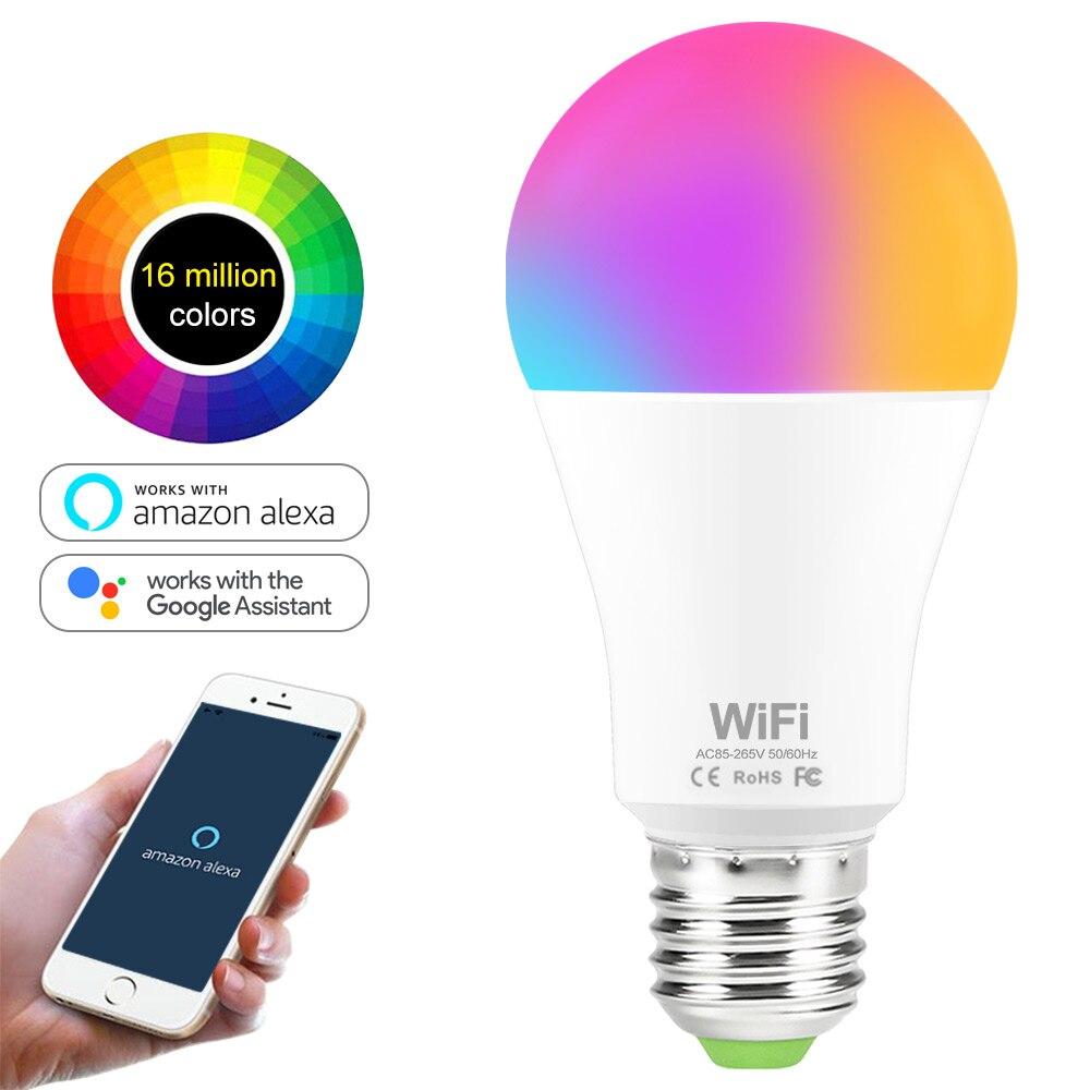 Bombilla inteligente WiFi de 15W RGB blanca lamregulable LED E27 B22 bombillas de WiFi compatibles con Amazon Alexa Google Home Smartphone DC 12V 5A/6A/10A/13A/15A/20A cargador adaptador de fuente de alimentación iluminación LED controlador convertidor EU adaptadores para tira de luces LED