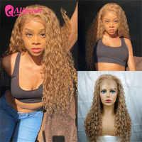 Pelucas de cabello humano de onda de encaje al agua para mujeres negras, color #27, prearrancado, ombré brasileño #4, 99J, AliPearl, pelucas de cabello humano