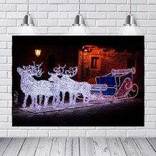 MEHOFOTO Рождественская гирлянда олень сани уличный ночной Светильник домик фон виниловая ткань компьютерная печать фон для фото на вечеринке