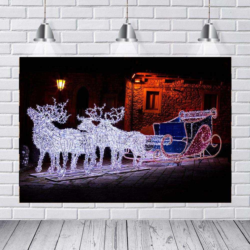MEHOFOTO Christmas garland reindeer sleigh street night light cottage Background Vinyl cloth Computer print party photo backdrop
