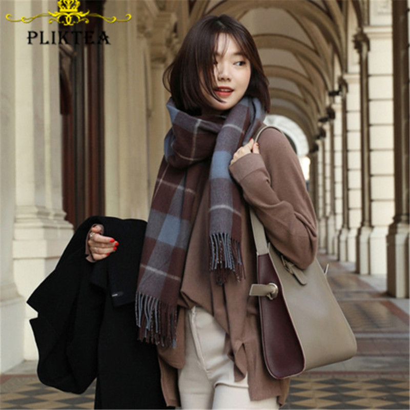 Elegant Brown Coffee Design Plaid Scarf For Women Fashion Winter Shawl Female Tippet Scarf Wrap Blue Plaid Stole Foulard Femme