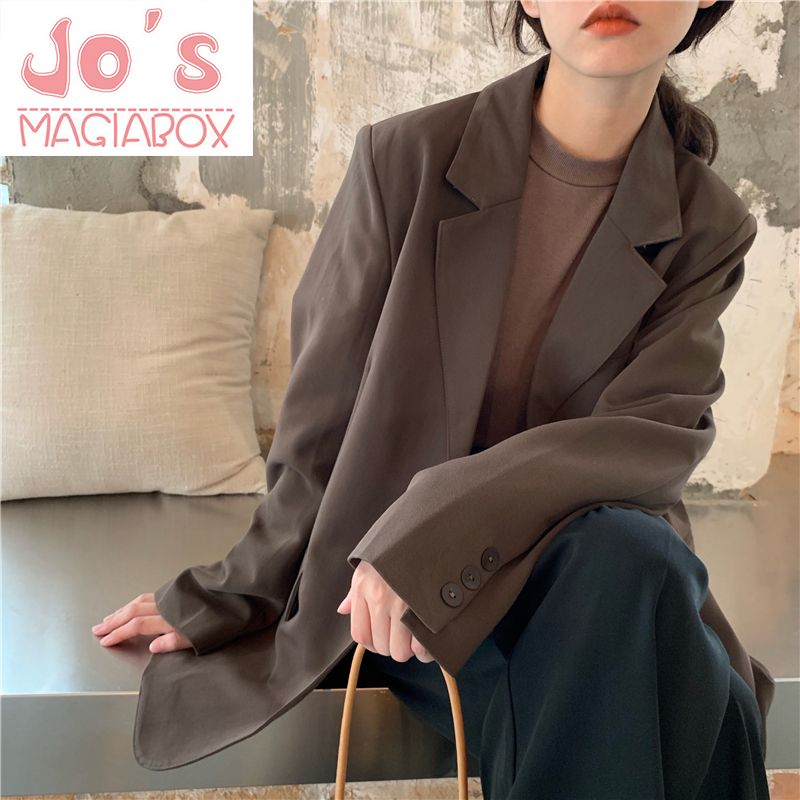 Winter Women Classic Vintage Solid Blazer Female Korean Long Sleeve Office Loose Single Breasted Casual Pocket Jacket Coat
