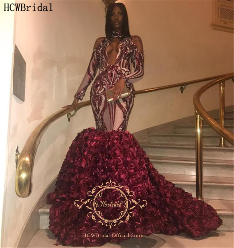 Luxury Burgundy Mermaid African Prom Dresses With Long Sleeves Sparkly Sequins 3D Flowers Plus Size Girls Pageant Dress Party