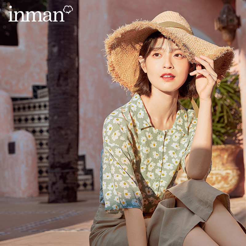 INMAN 2020 Summer New Arrival Lapel Retro Girlish Shivering Loose Half Sleeve Blouse