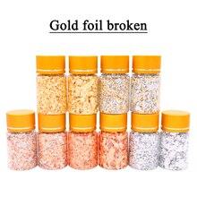 Copos de hoja de Oro de imitación copos de cobre para decoración de manualidades de deslizamiento, fragmentos de lámina de oro y cobre plateado, copos de oro artesanales