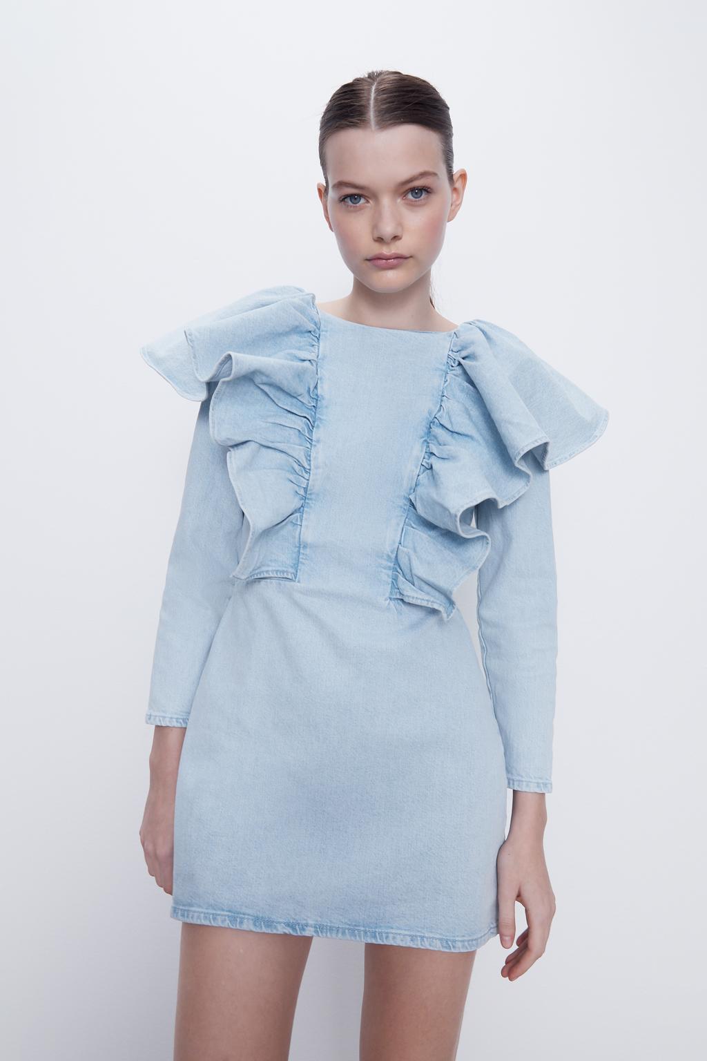 2020 new Spring Summer European Denim Flounced zaraing women Dress vadiming sheining female dress streetwear POP2875