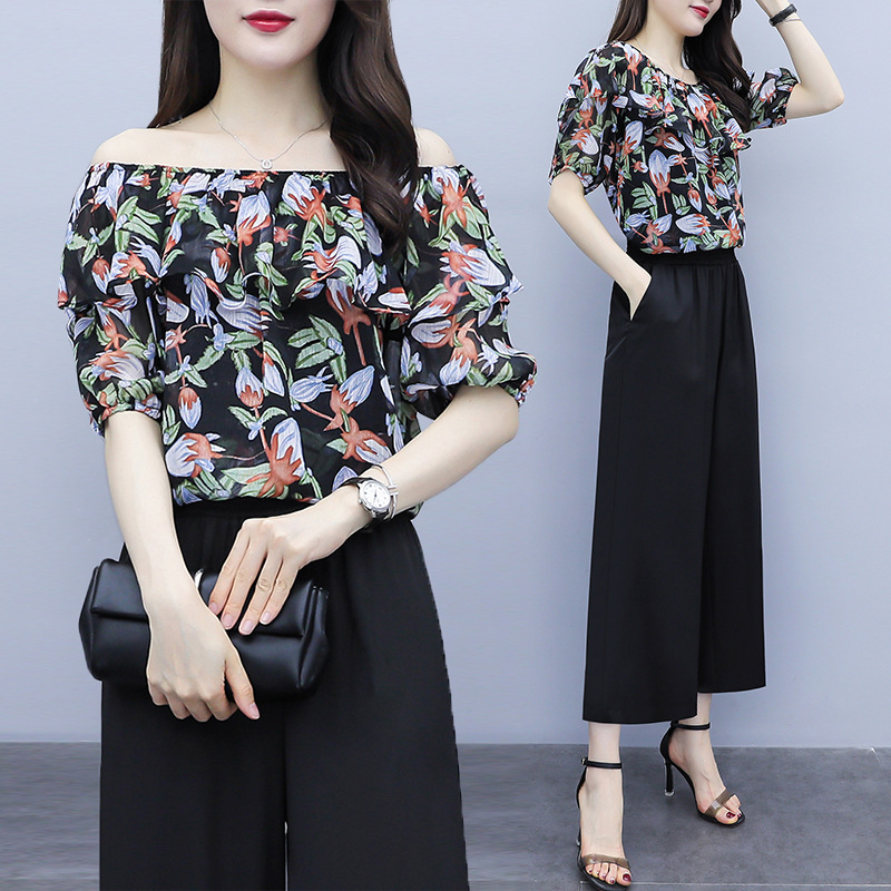 Fashion Set 2019 Summer Wear Horizontal Neck Double Purpose Floral-Print Tops + Elastic Waist Loose Pants Two-Piece Set