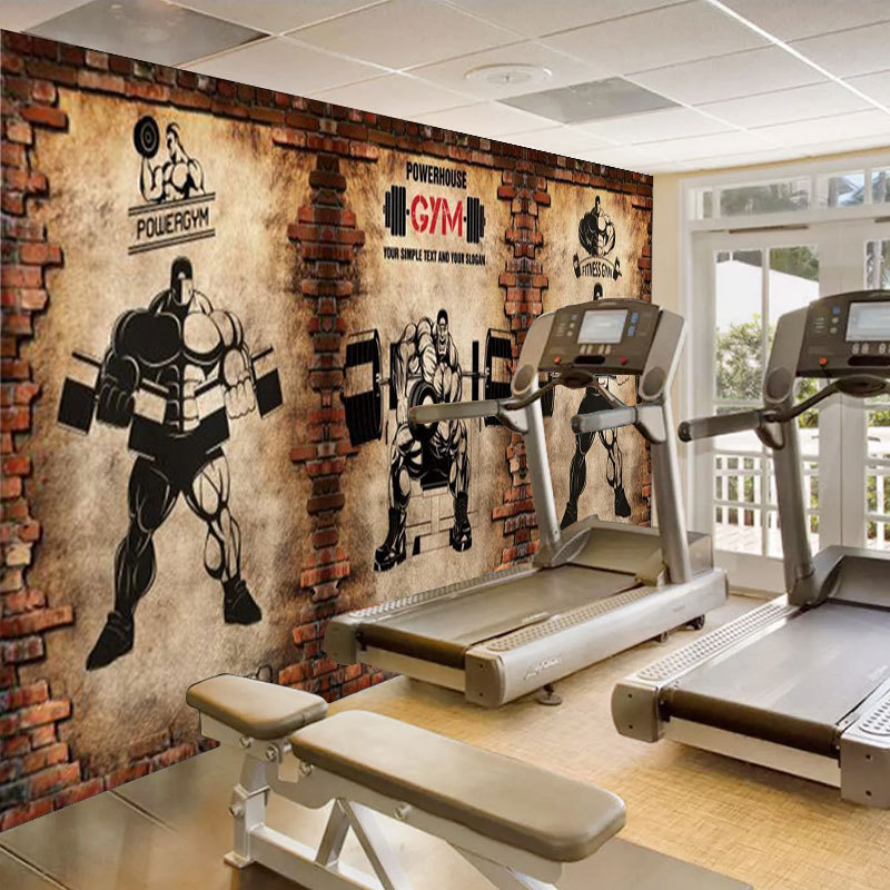 Hand-Painted Graffiti Brick Pattern Fashion Creative Cool Gym American-Style Background Wallpaper Sports Club Wallpaper Mural