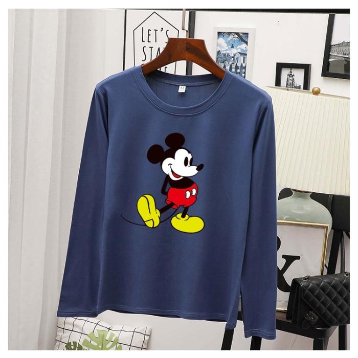 Fashion Cartoon Mickey Mouse Long Sleeve Disnay t shirt Women Couple Shirt Female T-shirt M-3XL