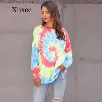 Women's Sweatshirt  Autumn And Winter New Tie-dye Printing European And American Round Neck Long Sleeve Loose Sport Wear Gym 2019 autumn and winter new european and american women s round neck long sleeved printed lace slim a line dress