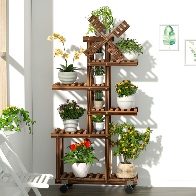 Vintage Wood Plant Stand Balcony Flower Pot Ladder Shelf Outdoor Garden Stand Planter Indoor Plants Pots Home Storage Rack Decor