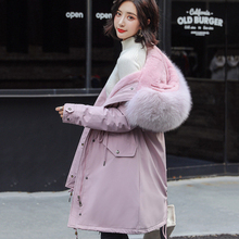 Thick long coat ladies new winter women casual large size artificial fur collar cotton thick warm Slim