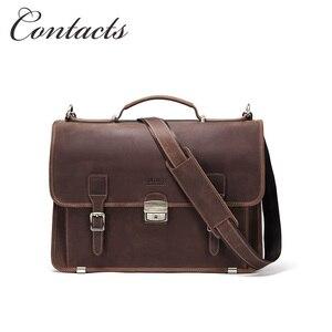 Контакты из натуральной кожи crazy horse кожа; В винтажном стиле мужской портфель для macbook air 13,3 дюймов, на застежке, Мужская Ручная сумка, сумка на...