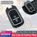 Металлический чехол из углеродного волокна для автомобильных ключей  2 кнопки для Honda Fit Jazz GK5 Vezel HR-V HRV HR V Jade  брелок для ключей  аксессуары