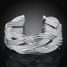 925 Free Shipping Sterling Silver Bangle Bracelet, 925 Silver Fashion Jewelry Big Weaved Bangle /Aflaiwsa Ainaizua