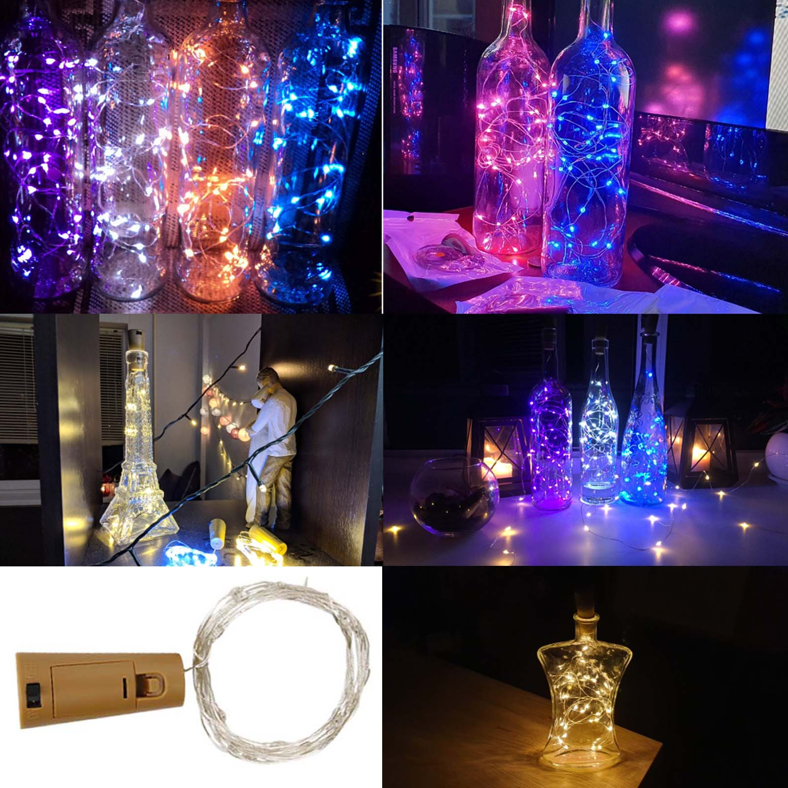 YORYZENG 1M 2M LED Garland String Fairy Lights For Glass Craft Bottle New Year Christmas Tree Wedding Birthday Party Decoration
