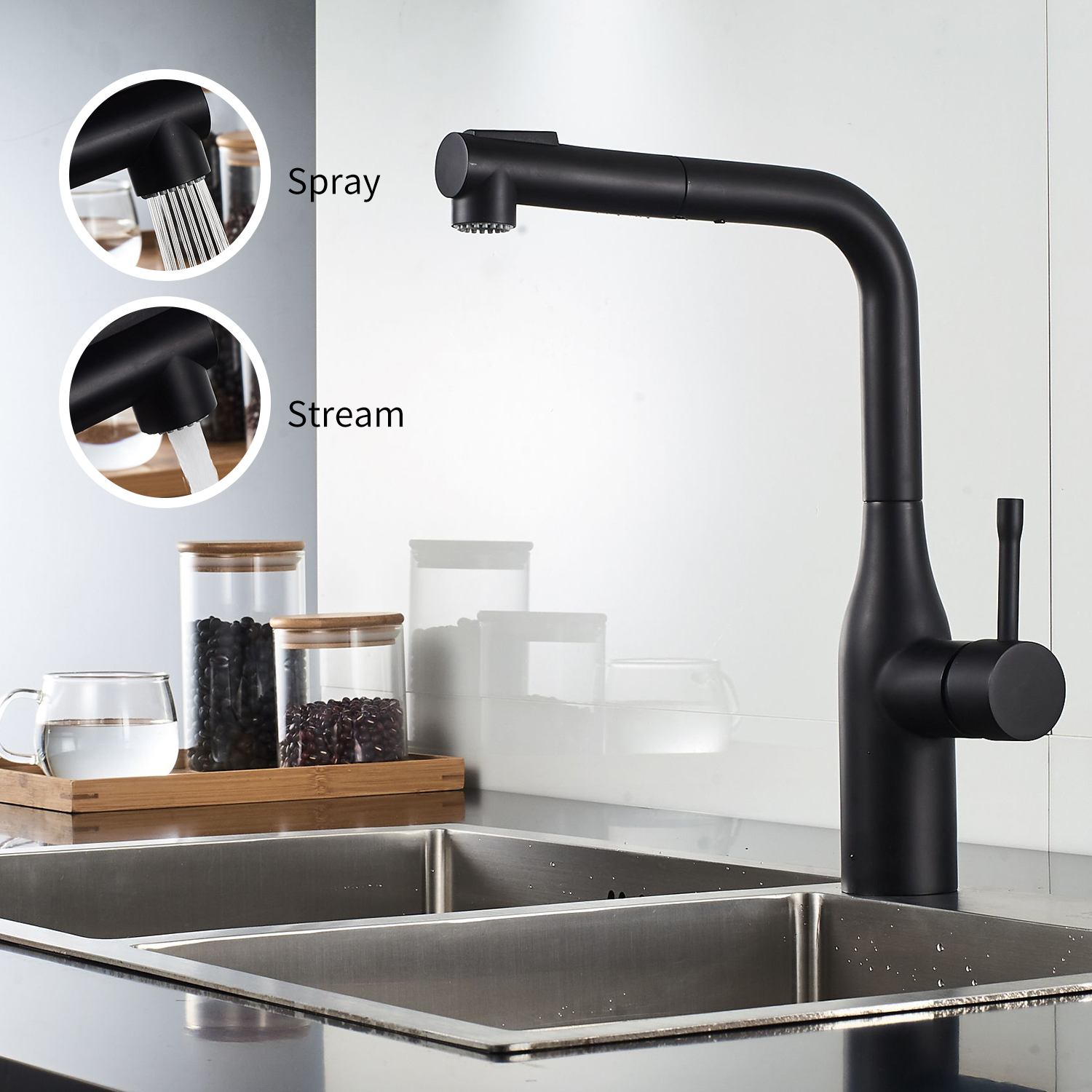 Kitchen Faucet Pull Out Duble Spray Modes 360 Dgree Swive Pull Down Bathroom Sink Faucet Ceramic Valve Kitchen Faucets Water Tap