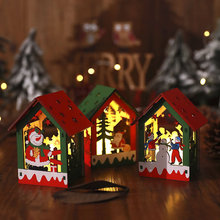 Christmas Snowman Elk DIY Hanging House Children Toy Xmas Luminous Wooden Decoration Ornament Craft toy